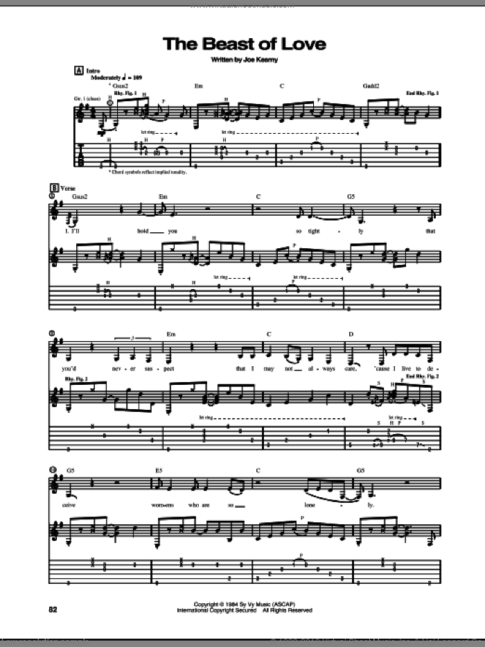 The Beast Of Love sheet music for guitar (tablature) by Steve Vai. Score Image Preview.