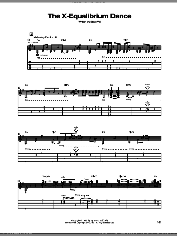 The X-Equalibrium Dance sheet music for guitar (tablature) by Steve Vai. Score Image Preview.