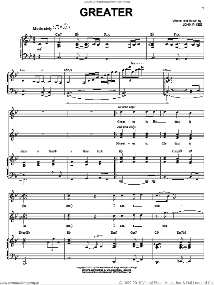 Greater sheet music for voice, piano or guitar by John P. Kee. Score Image Preview.