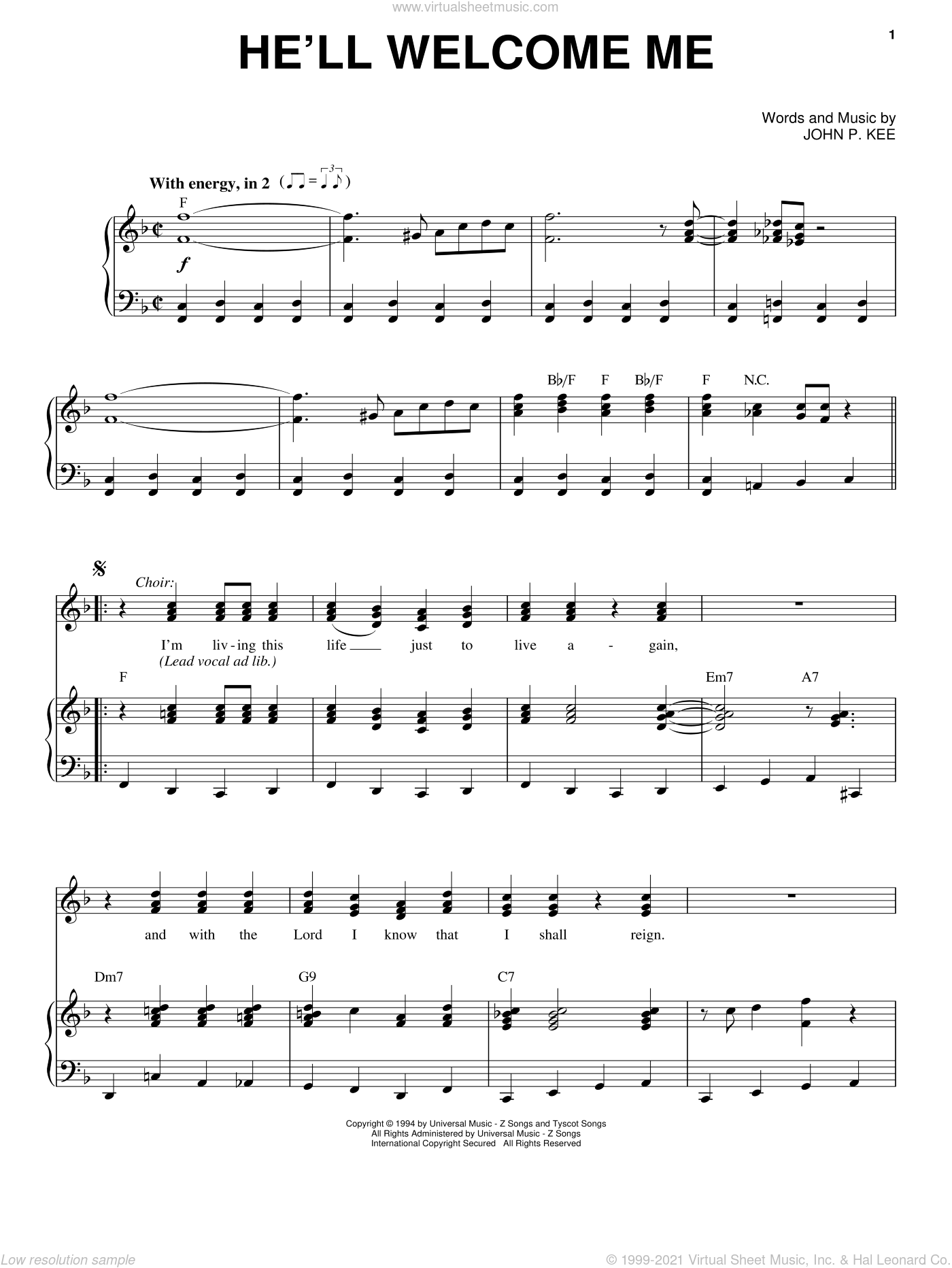 He'll Welcome Me sheet music for voice, piano or guitar by John P. Kee, intermediate skill level