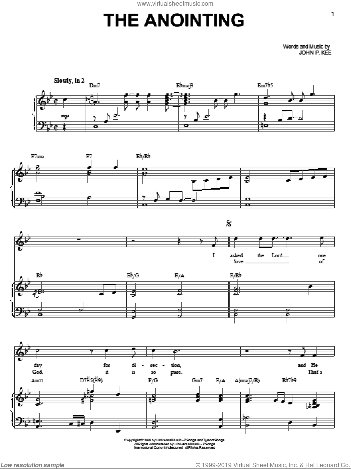 The Anointing sheet music for voice, piano or guitar by John P. Kee, intermediate skill level