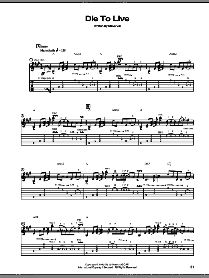 Die To Live sheet music for guitar (tablature) by Steve Vai, intermediate skill level