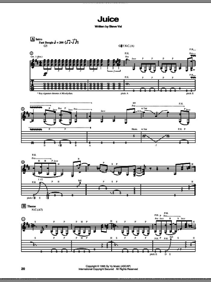 Juice sheet music for guitar (tablature) by Steve Vai, intermediate skill level
