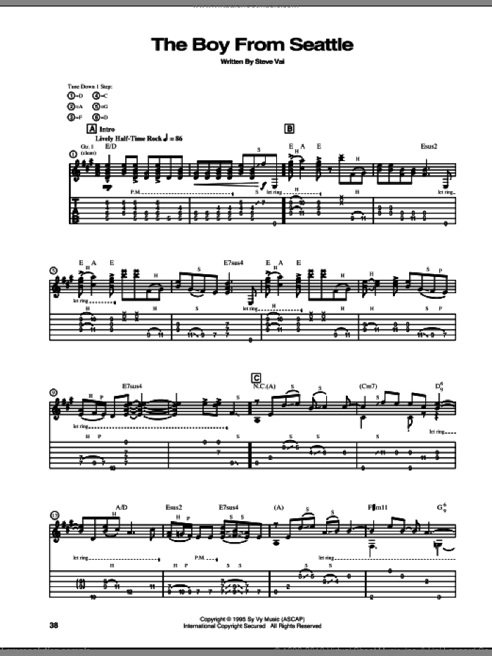 The Boy From Seattle sheet music for guitar (tablature) by Steve Vai. Score Image Preview.