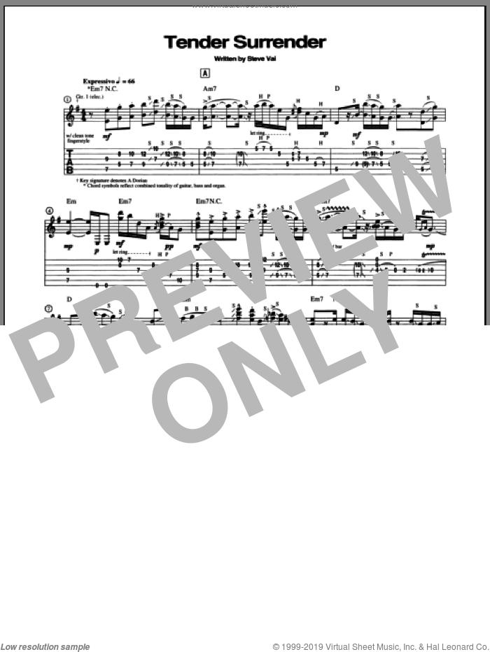 Tender Surrender sheet music for guitar (tablature) by Steve Vai, intermediate skill level