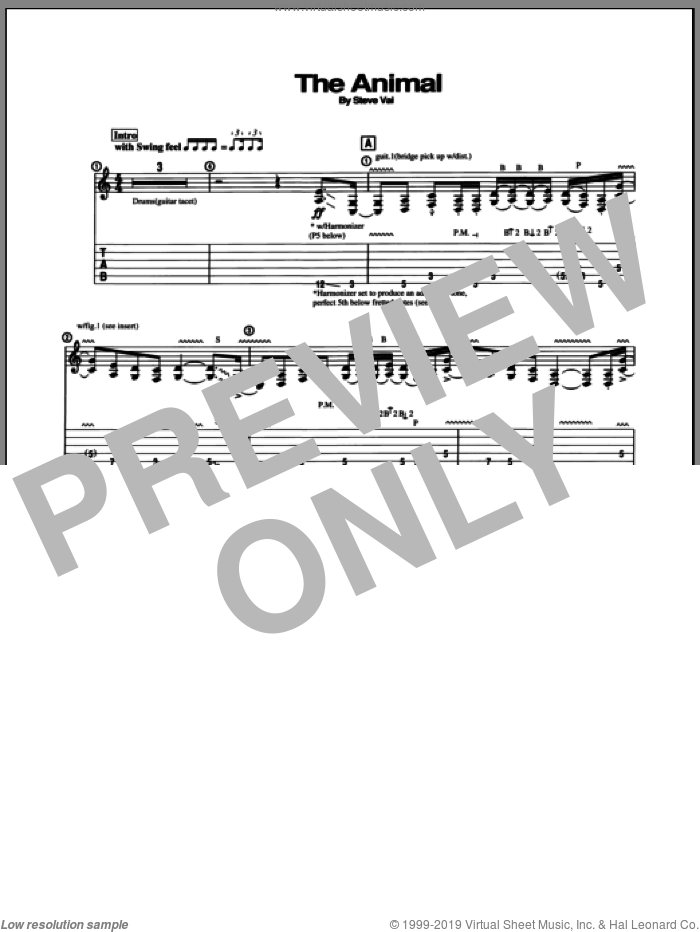 The Animal sheet music for guitar (tablature) by Steve Vai. Score Image Preview.