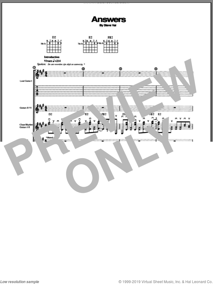 Answers sheet music for guitar (tablature) by Steve Vai, intermediate
