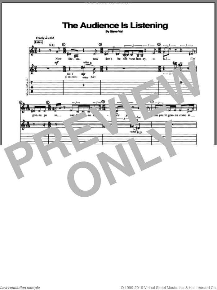 The Audience Is Listening sheet music for guitar (tablature) by Steve Vai. Score Image Preview.