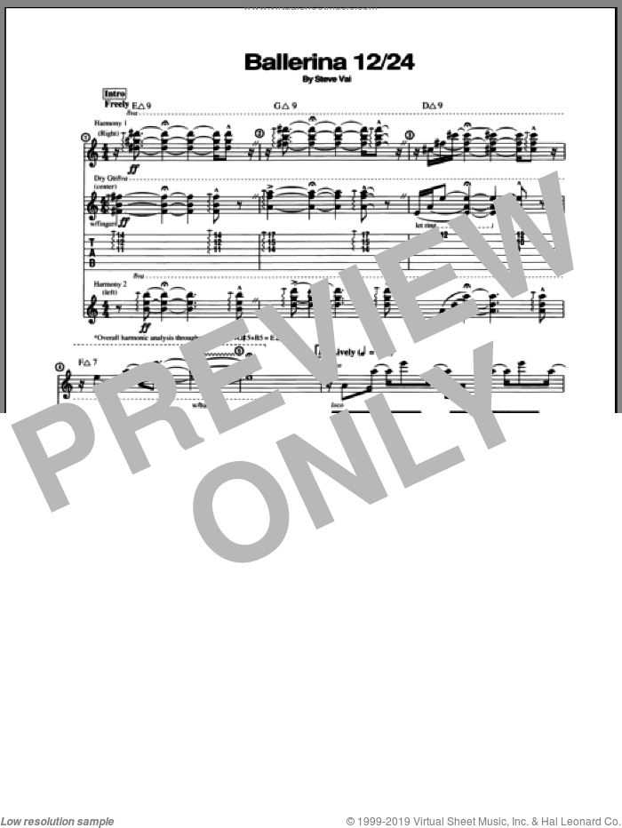 Ballerina 12/24 sheet music for guitar (tablature) by Steve Vai, intermediate