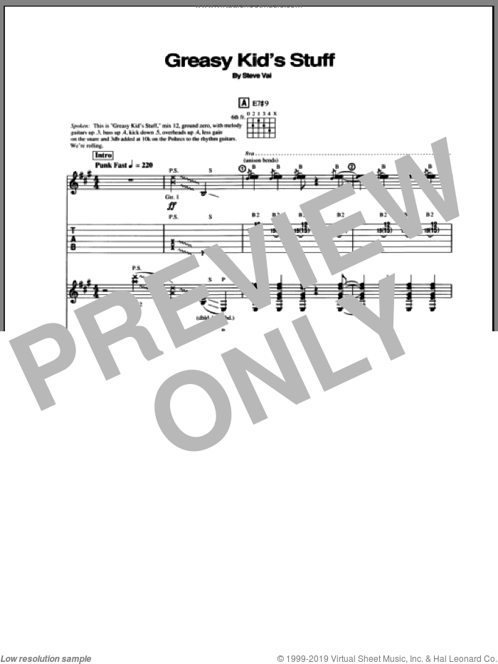 Greasy Kids Stuff sheet music for guitar (tablature) by Steve Vai. Score Image Preview.