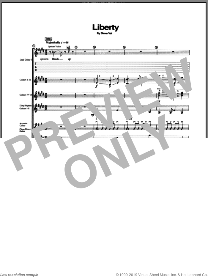 Liberty sheet music for guitar (tablature) by Steve Vai, intermediate