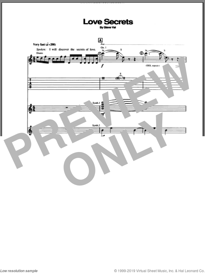 Love Secrets sheet music for guitar (tablature) by Steve Vai. Score Image Preview.