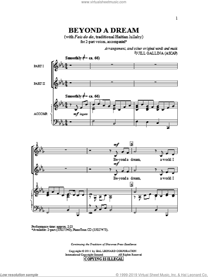 Beyond A Dream sheet music for choir and piano (duets) by Haitian Lullaby and Jill Gallina. Score Image Preview.
