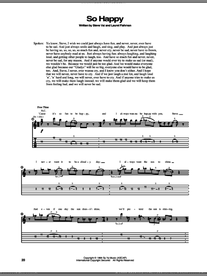 So Happy sheet music for guitar (tablature) by Laurel Fishman and Steve Vai. Score Image Preview.