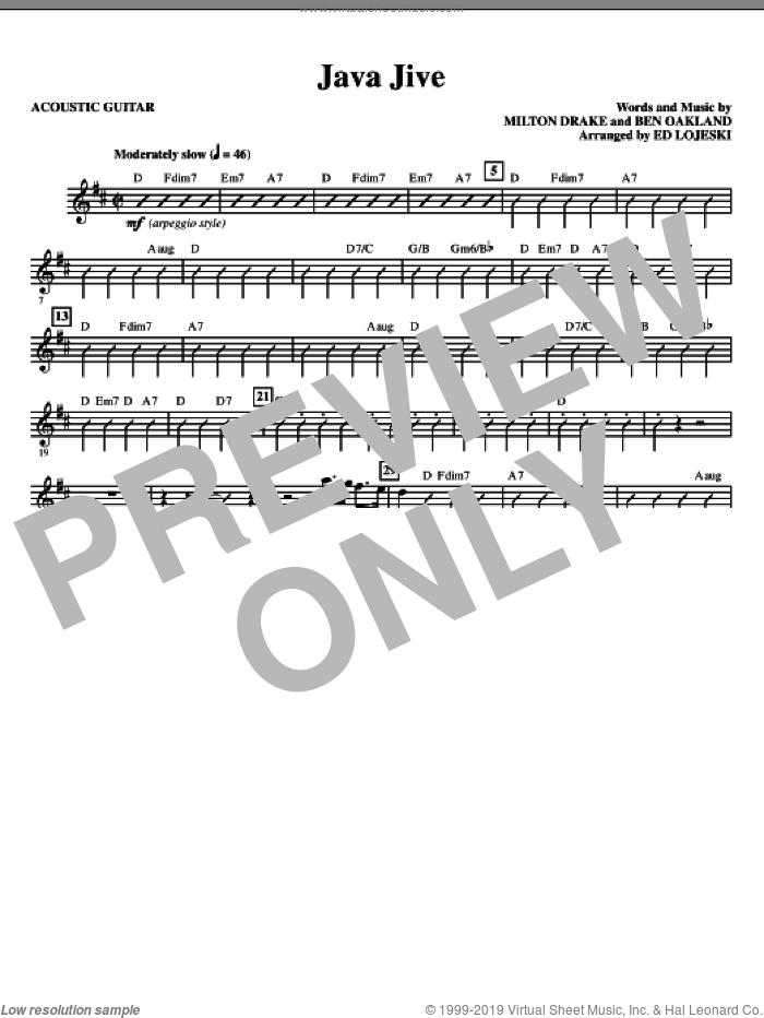 Java Jive (SSAA Octavo Accompaniment Parts) (complete set of parts) sheet music for orchestra/band (Rhythm) by Milton Drake, Ben Oakland, Ed Lojeski and Manhattan Transfer, intermediate skill level
