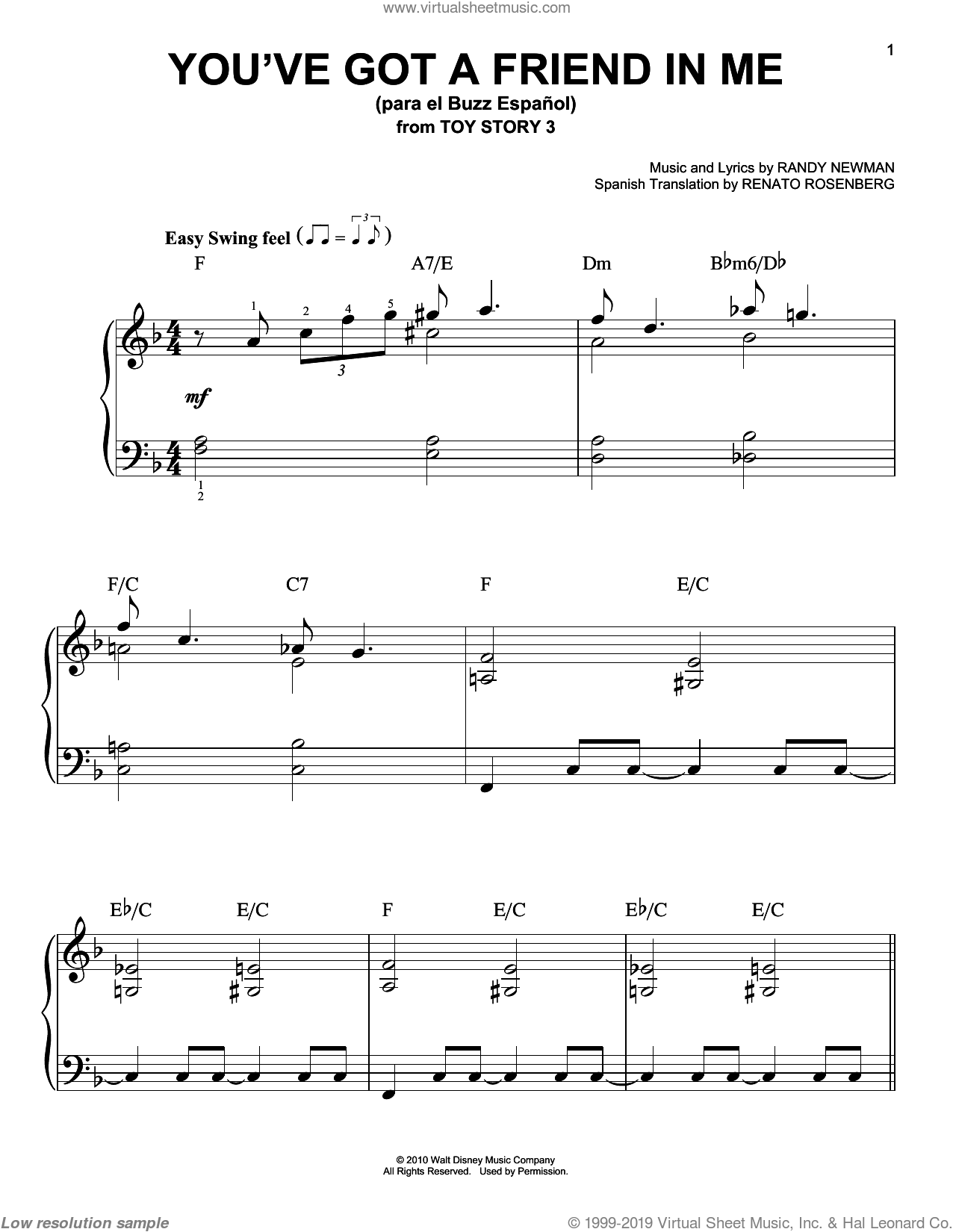 You've Got a Friend in Me (para el Buzz Espanol) (from Toy Story 3) sheet music for piano solo by Randy Newman, The Gipsy Kings, Toy Story 3 (Movie) and Renato Rosenberg, easy skill level