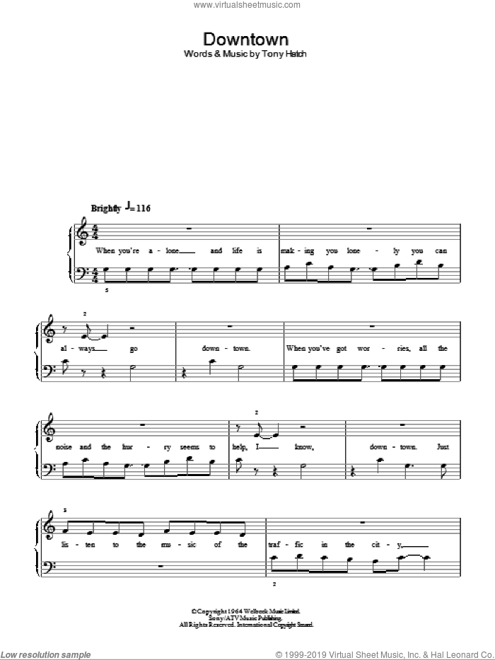 Downtown sheet music for piano solo by Tony Hatch and Petula Clark. Score Image Preview.