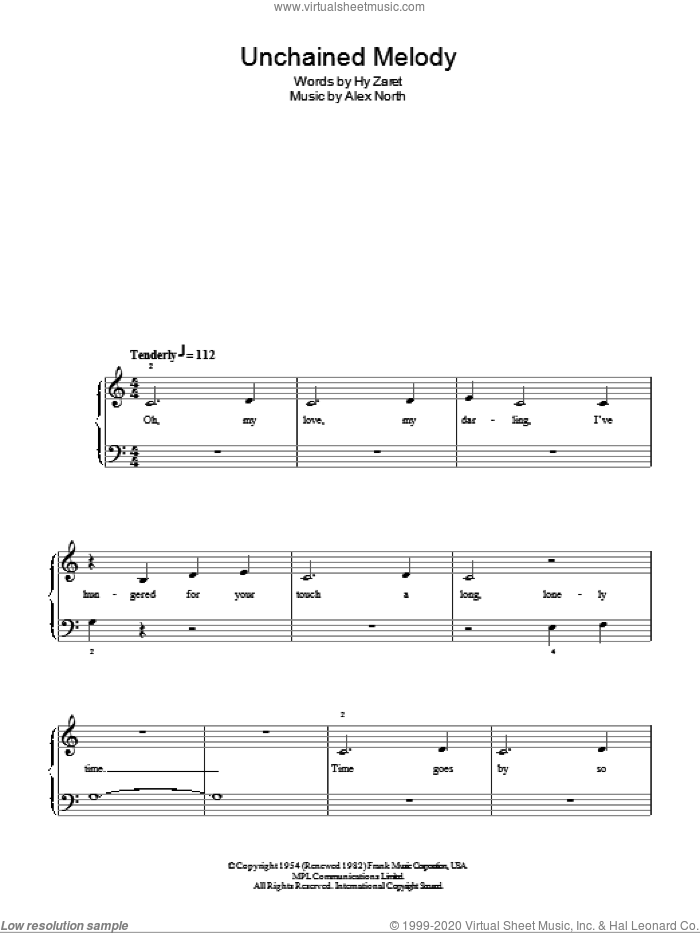 Unchained Melody sheet music for piano solo by Hy Zaret, The Righteous Brothers and Alex North. Score Image Preview.
