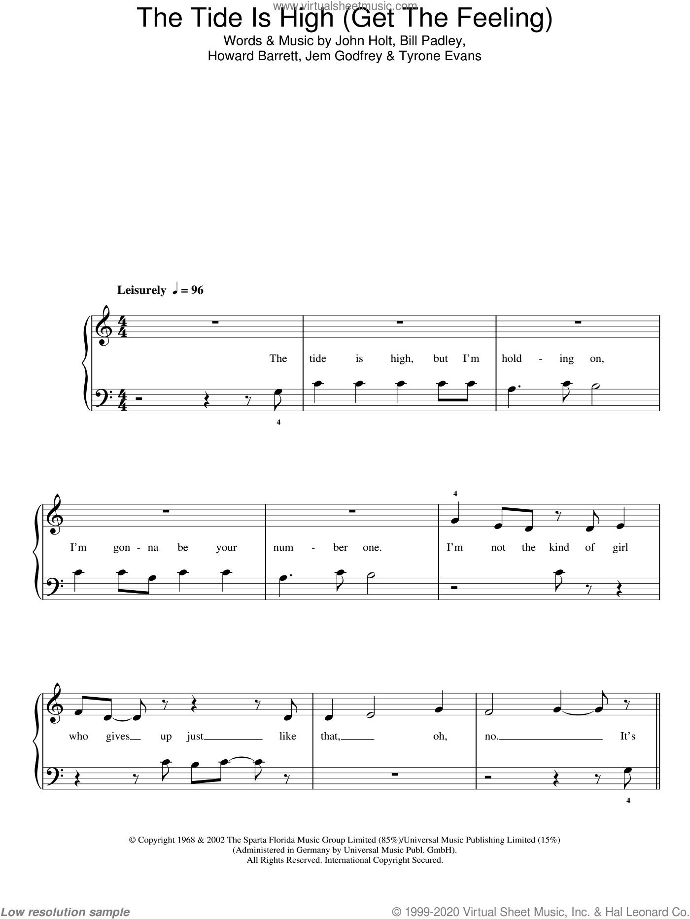 The Tide Is High (Get The Feeling) sheet music for piano solo by Blondie, Bill Padley, Howard Barrett, Jem Godfrey, John Holt and Tyrone Evans, easy skill level