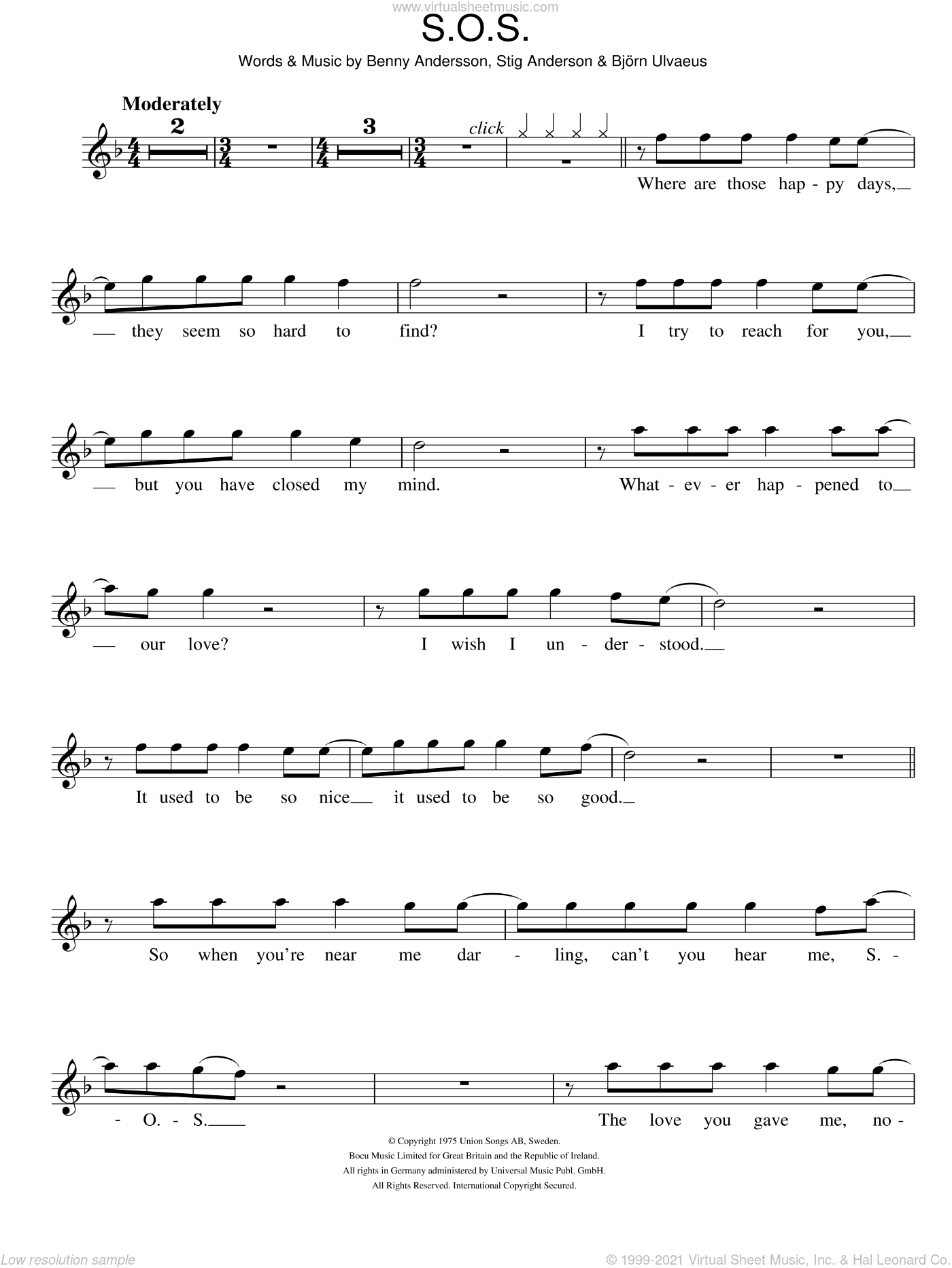 S.O.S. sheet music for flute solo by ABBA, Benny Andersson, Bjorn Ulvaeus and Stig Anderson, intermediate