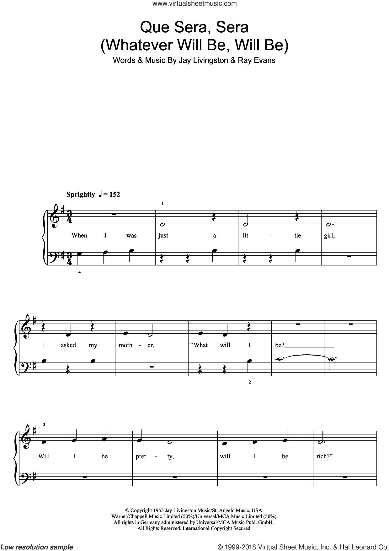 Que Sera, Sera (Whatever Will Be, Will Be) sheet music for piano solo (5-fingers) by Doris Day, Jay Livingston and Ray Evans, beginner piano (5-fingers)