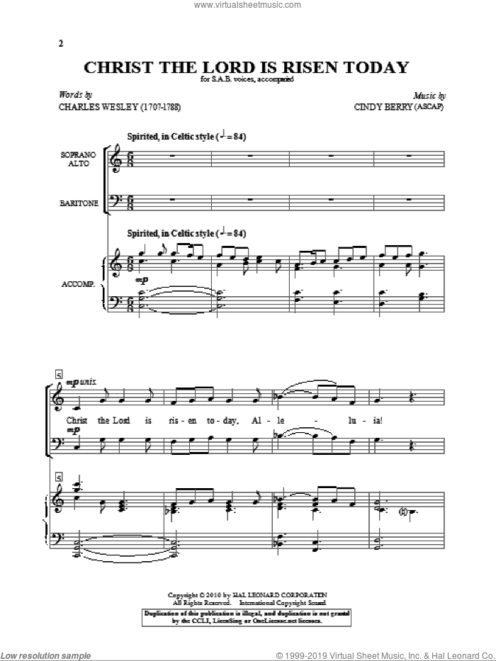 Christ The Lord Is Risen Today sheet music for choir (SAB: soprano, alto, bass) by Cindy Berry and Charles Wesley, intermediate skill level