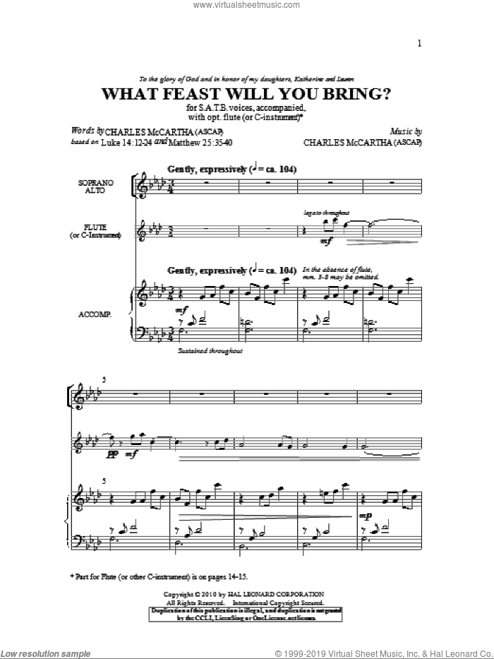 What Feast Will You Bring? sheet music for choir (SATB) by Charles McCartha. Score Image Preview.