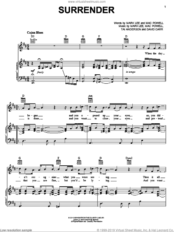 Surrender sheet music for voice, piano or guitar by Tai Anderson, Third Day, David Carr, Mac Powell and Mark Lee. Score Image Preview.