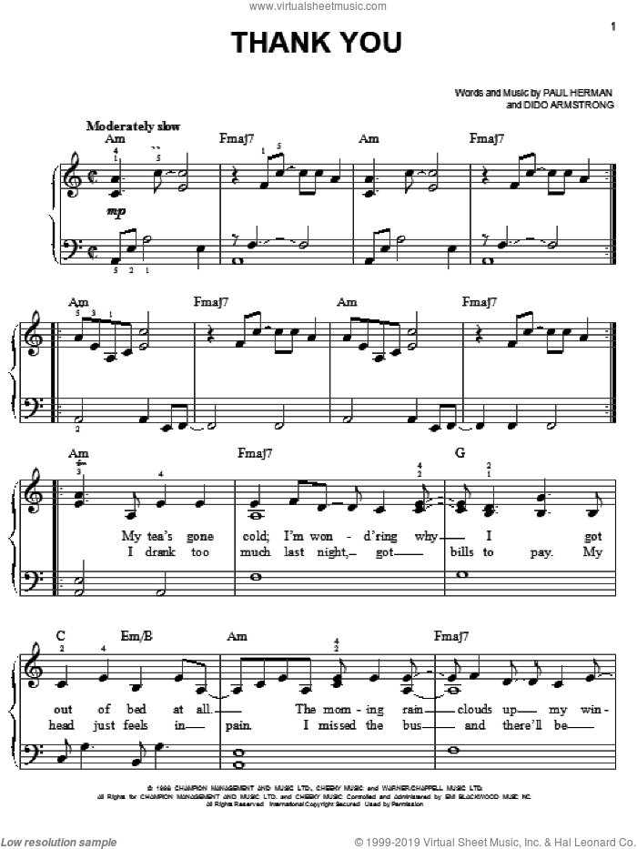 Thank You sheet music for piano solo by Dido Armstrong and Paul Herman, easy skill level