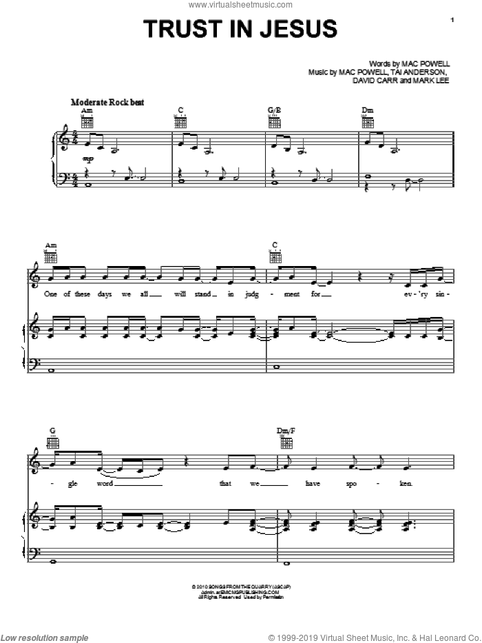 Trust In Jesus sheet music for voice, piano or guitar by Third Day, David Carr, Mac Powell, Mark Lee and Tai Anderson, intermediate. Score Image Preview.