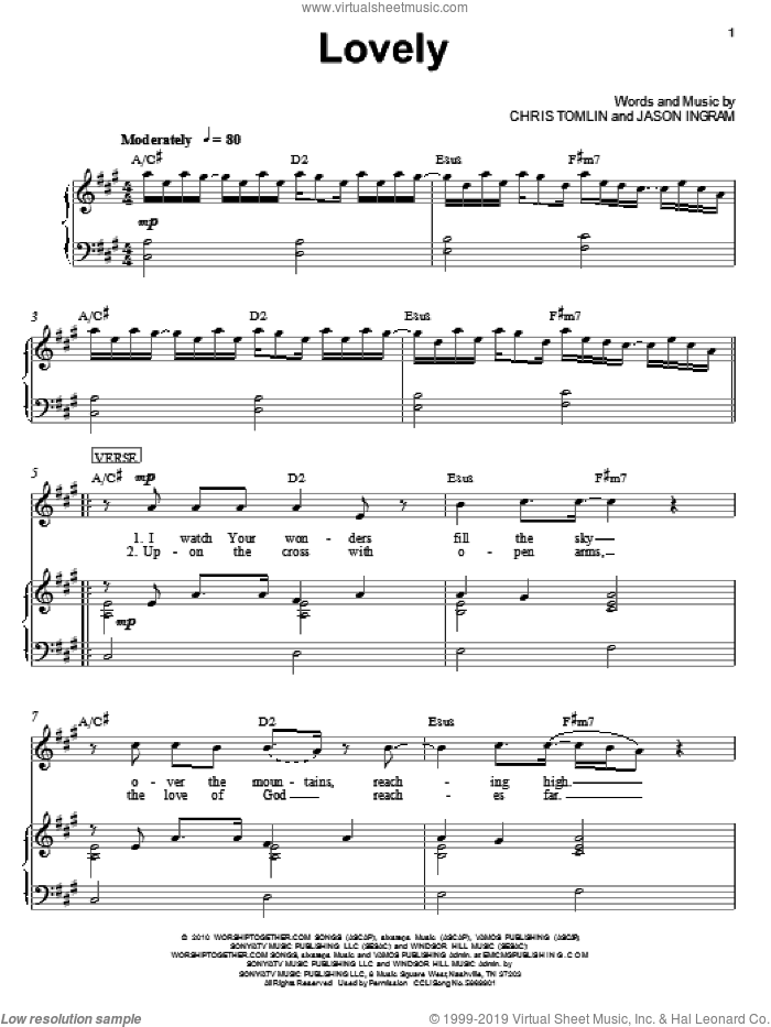 Lovely sheet music for voice, piano or guitar by Chris Tomlin and Jason Ingram, intermediate voice, piano or guitar. Score Image Preview.