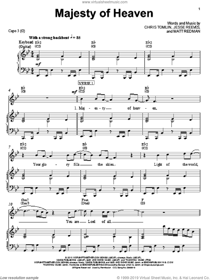 Majesty Of Heaven sheet music for voice, piano or guitar by Chris Tomlin, Jesse Reeves and Matt Redman, intermediate skill level