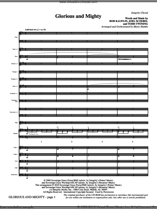 Glorious And Mighty (COMPLETE) sheet music for orchestra by Bob Kauflin and Marty Hamby. Score Image Preview.