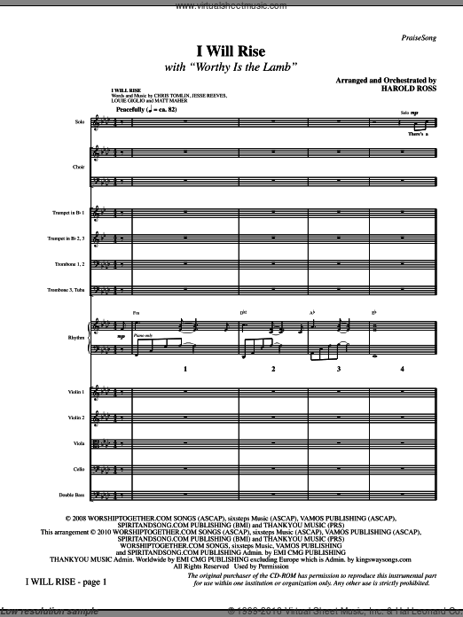 I Will Rise (with Worthy Is The Lamb) (COMPLETE) sheet music for orchestra by Jesse Reeves, Chris Tomlin, Darlene Zschech, Harold Ross and Matt Maher. Score Image Preview.
