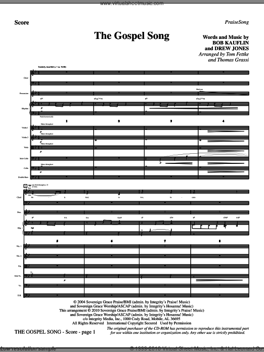 The Gospel Song (COMPLETE) sheet music for orchestra by Tom Fettke and Thomas Grassi, intermediate. Score Image Preview.