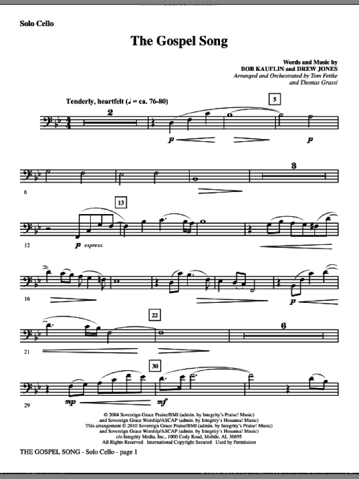 The Gospel Song (complete set of parts) sheet music for orchestra/band (Strings) by Tom Fettke, Bob Kauflin, Drew Jones and Thomas Grassi, intermediate skill level