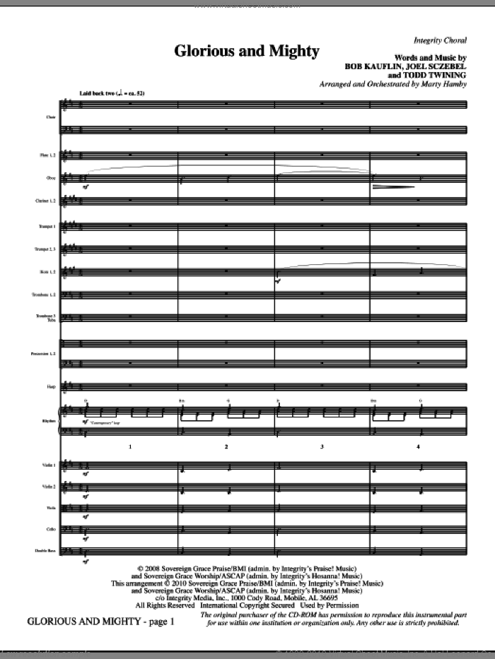 Glorious And Mighty (complete set of parts) sheet music for orchestra/band (Orchestra) by Marty Hamby, Bob Kauflin, Joel Sczebel and Todd Twining, intermediate skill level
