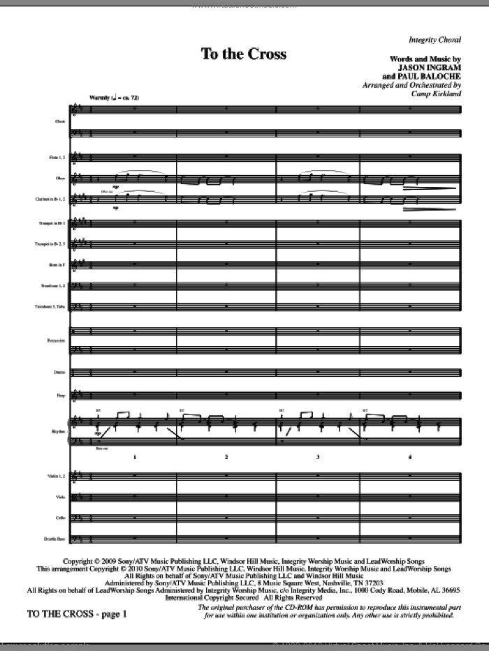 To The Cross (complete set of parts) sheet music for orchestra/band (Orchestra) by Paul Baloche, Camp Kirkland and Jason Ingram, intermediate orchestra. Score Image Preview.