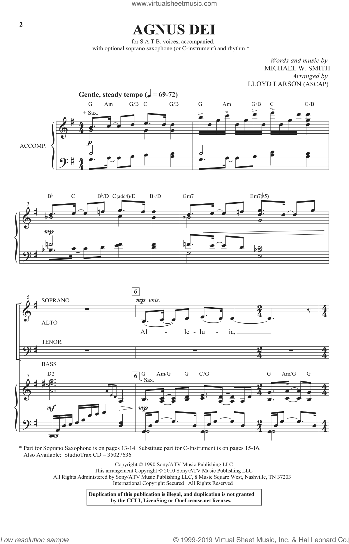 Agnus Dei sheet music for choir (SATB) by Michael W. Smith and Lloyd Larson, intermediate choir (SATB). Score Image Preview.
