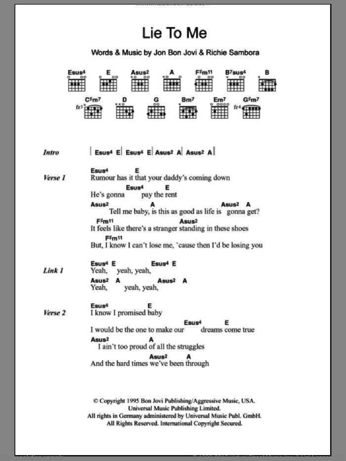 Jovi - Lie To Me sheet music for guitar (chords) [PDF]