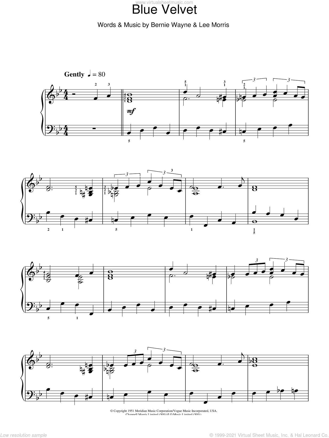 Blue Velvet sheet music for piano solo by Tony Bennett, Bernie Wayne and Lee Morris, intermediate skill level