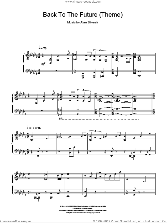 Back To The Future (Theme) sheet music for piano solo by Alan Silvestri, intermediate skill level