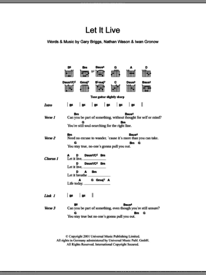 Let It Live sheet music for guitar (chords) by Nathan Wason
