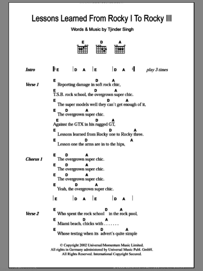 Lessons Learned From Rocky I To Rocky III sheet music for guitar (chords) by Cornershop, intermediate
