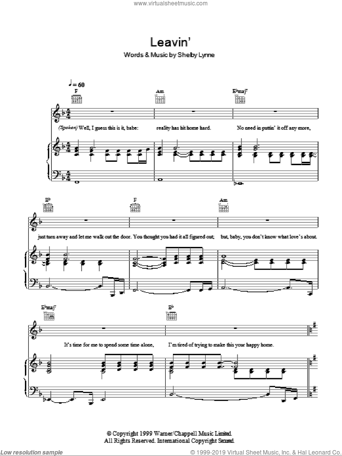 Leavin' sheet music for voice, piano or guitar by Shelby Lynne. Score Image Preview.