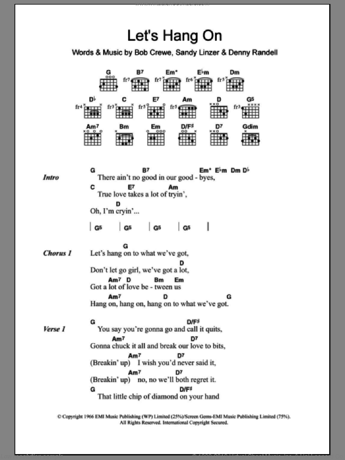 Let's Hang On sheet music for guitar (chords) by Frankie Valli & The Four Seasons, Bob Crewe and Sandy Linzer, intermediate. Score Image Preview.