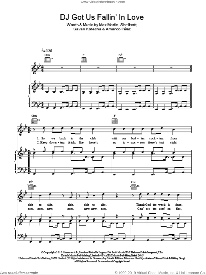 DJ Got Us Fallin' In Love sheet music for voice, piano or guitar by Shellback, Armando Perez, Max Martin and Savan Kotecha. Score Image Preview.