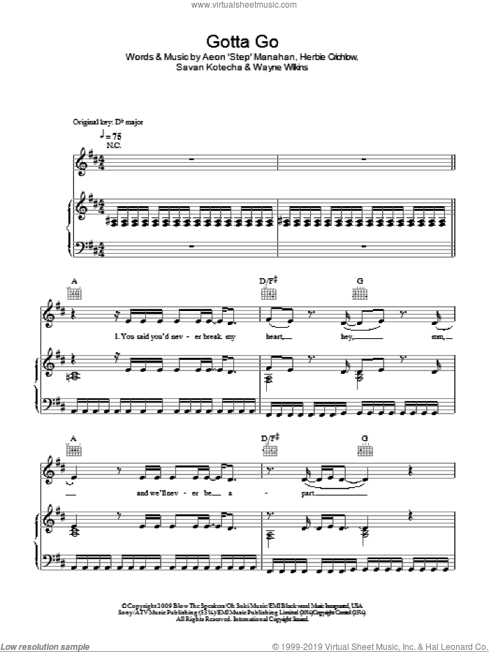 Gotta Go sheet music for voice, piano or guitar by Wayne Wilkins, Alexandra Burke and Savan Kotecha. Score Image Preview.
