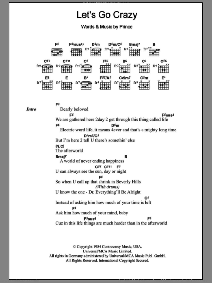 Let's Go Crazy sheet music for guitar (chords) by Prince and Prince & The Revolution, intermediate guitar (chords). Score Image Preview.