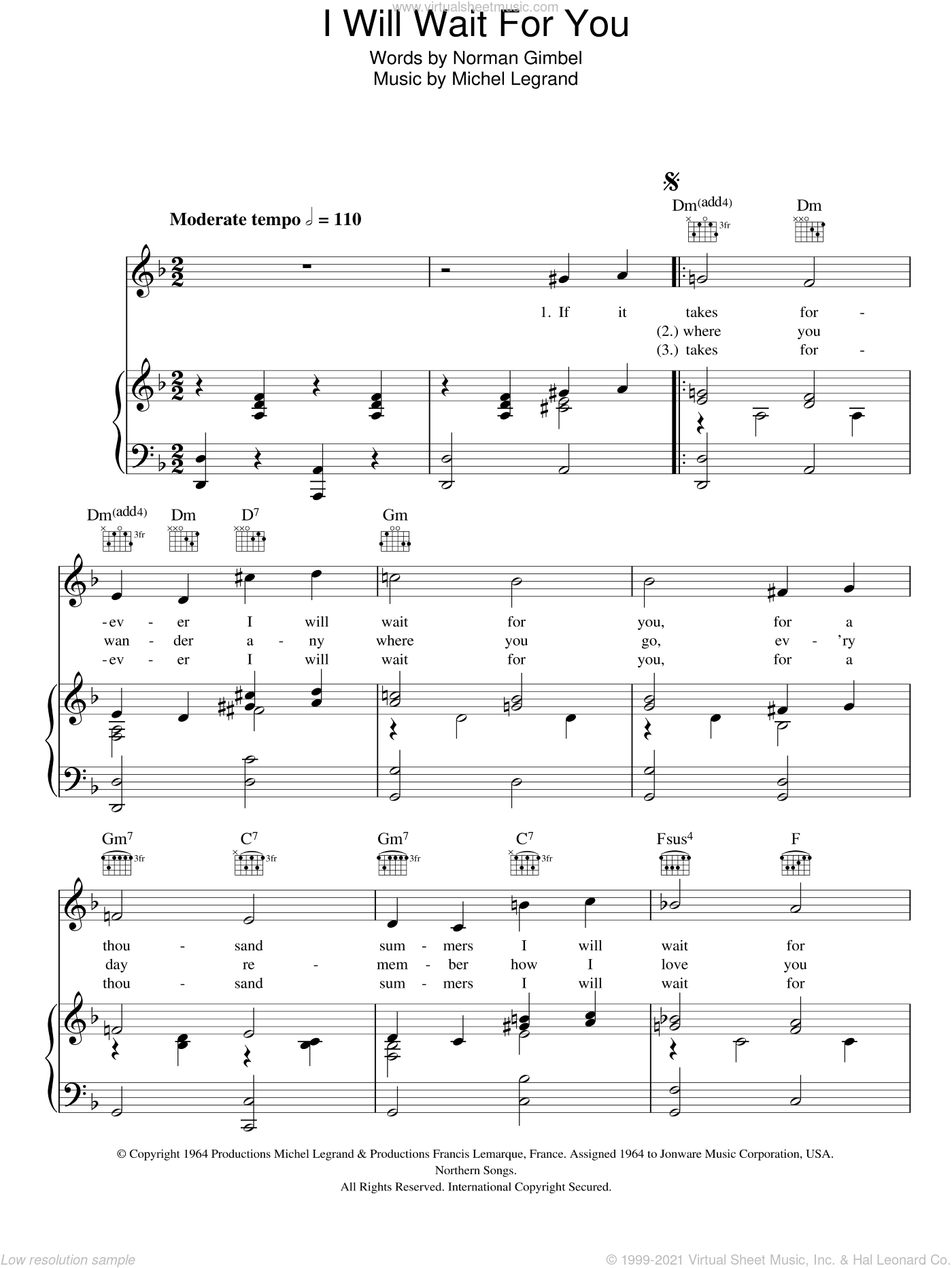 I Will Wait For You sheet music for voice, piano or guitar by Michel LeGrand and Norman Gimbel, intermediate skill level